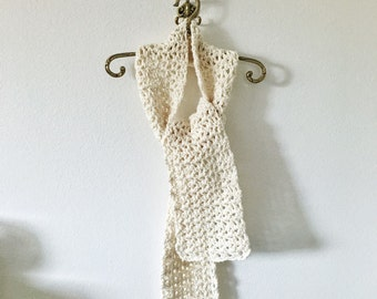 Cream crocheted scarf