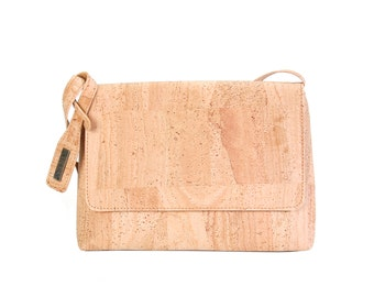 Handbag made of Cork, shoulder bag with flap