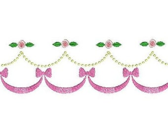 Machine embroidery little rose bow border