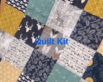 Woodland Quilt Kit, Woodland Nursery Bedding, Elk, Moose, Grey, Gold and Navy Quilt Kit, Deer and Arrows Quilt Kit- QK-4