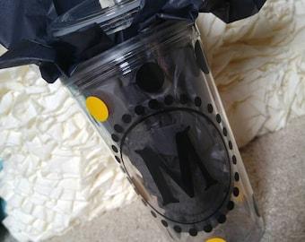 Personalized polka dot tumbler