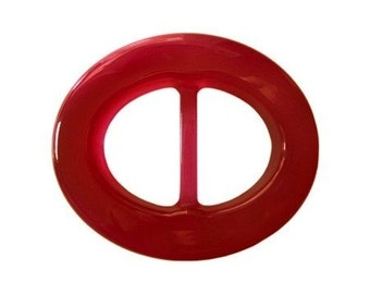 Red Oval Lucite Belt Buckle     (BB-OV-010)