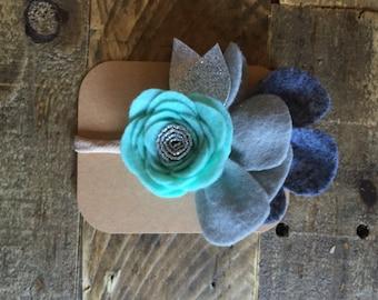 Mint and gray felt flower headband