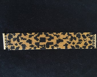 Leopard Print Hand Beaded Cuff