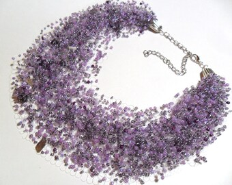 Amethyst stone airy crochet necklace, everyday necklace, multistrand statement necklace, gif for her