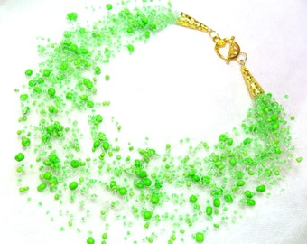 Bright neon green necklace, multistrand everyday necklace, colorful necklace