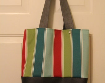 Red-Teal-Green-Blue Striped Tote
