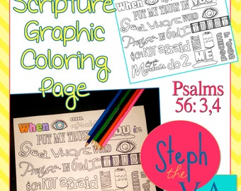 Psalms 56:3,4 NIV - Scripture Coloring Page