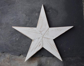 Farmhouse Rustic White Wooden Star Distressed Wall Decor, Jully 4th, USA, America
