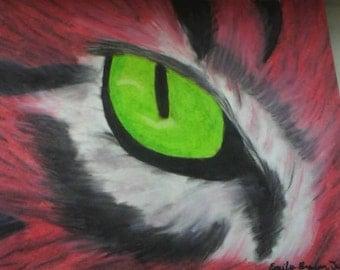Tiger's Eye Oil Pastel Painting