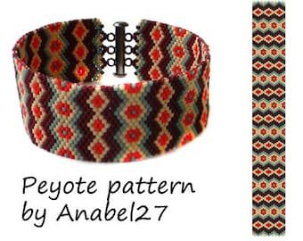 Bead pattern #7, peyote bracelet pattern, beaded bracelet pattern, peyote cuff pattern, beadwoven jewelry pattern, delica seed beads, PDF