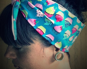 Rockabilly bandana cupcake hair band