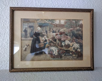 Vintage Henri Houben Print, Small, Framed Art, Flower Market in Middelburg, Netherlands, Ca. Late 19th - Early 20th Century