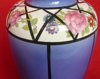 Old Vintage Delton Ware Burslem Art Deco Floral Pottery Vase Circa 1904-1910