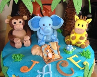 Edible fodant jungle theme cake toppers