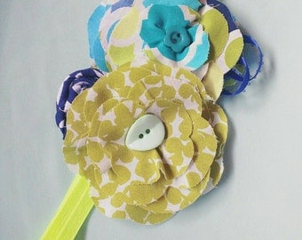 Lime green/turquoise/Navy baby flower headband