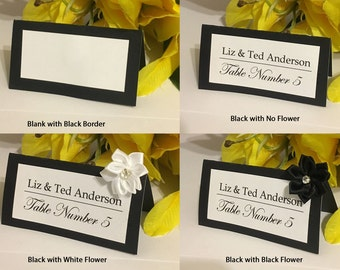 50 Customized Elegant Name Place Cards For Wedding, Special Events (Black)