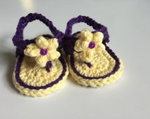 3-6 mos. girls crochet flip flops. Yellow and purple with yellow flower.