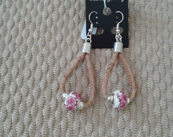 Cork earrings with pink beads
