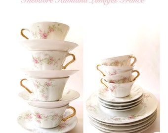 Haviland Limoges Teacups & Plates French China Set of 13 Pieces / Vintage Teacups / Teacups and Saucers / Vintage China Set / Vintage China