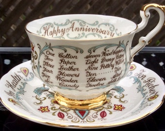 Paragon Happy Anniversary Footed Teacup and Saucer