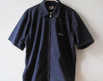 VINTAGE LEVI'S Navy Blue Zipper Shirt Short Sleeves - Size M