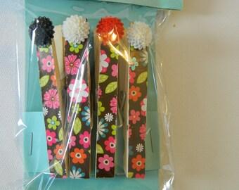 Set of 4 magnetic cloths clips, message boards, fridge, college dorms