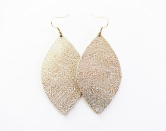 Gold Leather Earrings / Large Earring / Leaf Earring / Statement Earring / Diffuser Jewelry / Long Earring / Holiday Jewelry