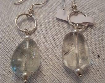 925% Silver earrings, Swarovski gem necklace