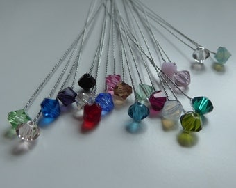 Swarovski Crystal on a twisted silver wire