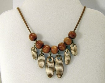 Brown and White Striped Necklace - Handmade Clay Beads - Brown Suede Cord - Adjustable Length