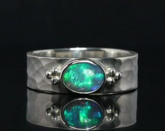 Hammered / forged design ring with opal -- handmade out of Sterling Silver
