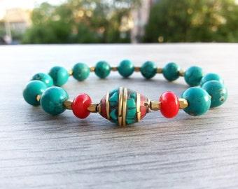 Tibetan turquoise bracelet genuine turquoise Yoga bracelet tibetan turquoise coral bracelet Tibetan wrist mala bracelet tibetan men bracelet