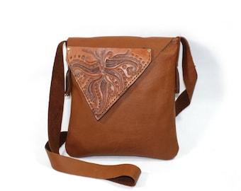 Leather Bag / Shoulder Bag / Handbag - unique bag with onamented design