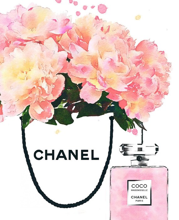 Shopping Chanel Bag Poster. Peonies In A Shop Bag. Coco