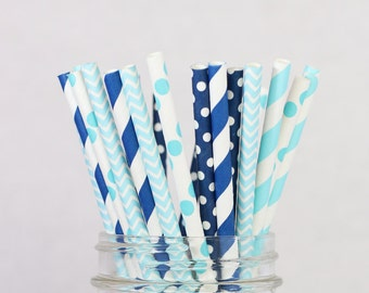 Baby Blue Paper Straws, Boy Theme Birthday Party, Ocean Party Decor, Blue Baby Shower, Blue Chevron, Dots and Stripes Blue, Baby Boy Decor