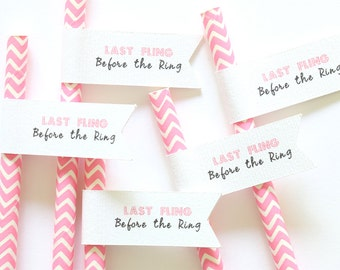 Paper Straw Flags | Last Fling Before the Ring Straws | Bachelorette | Miss to Mrs | Bridal Shower Decor | Bride To Be | Bachelorette Party