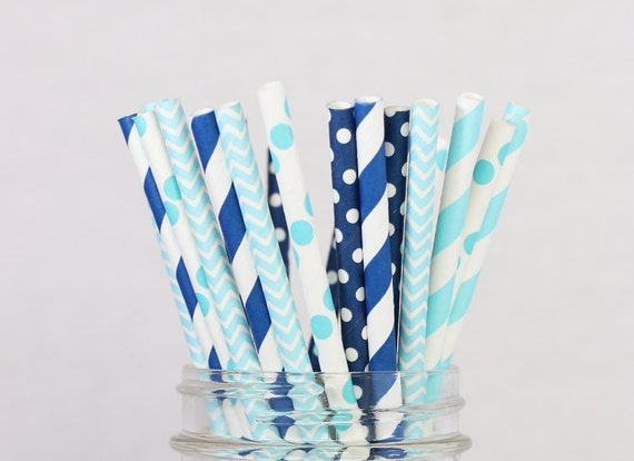 Baby blue paper straws boy theme birthday party ocean for Dots and stripes party theme