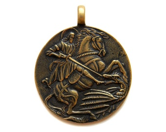 St. George Bronze Pendant with leather cord (1) Christian icon Orthodox icon Russian icon Christian art Saint Religious jewelry Christianity