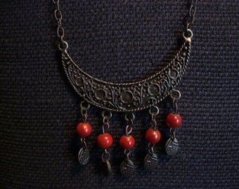 Antique Brass and Orange Beads