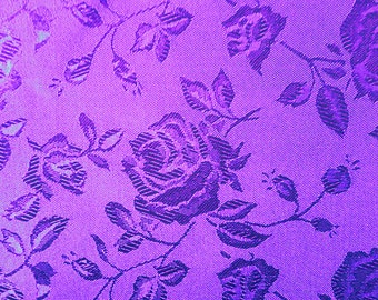 Floral Purple Satin Fabric by the Yard | Purple Fabric | Floral Fabric