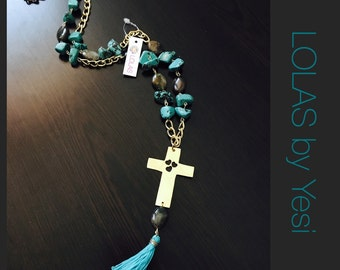 Long Cross Turquoise Necklace