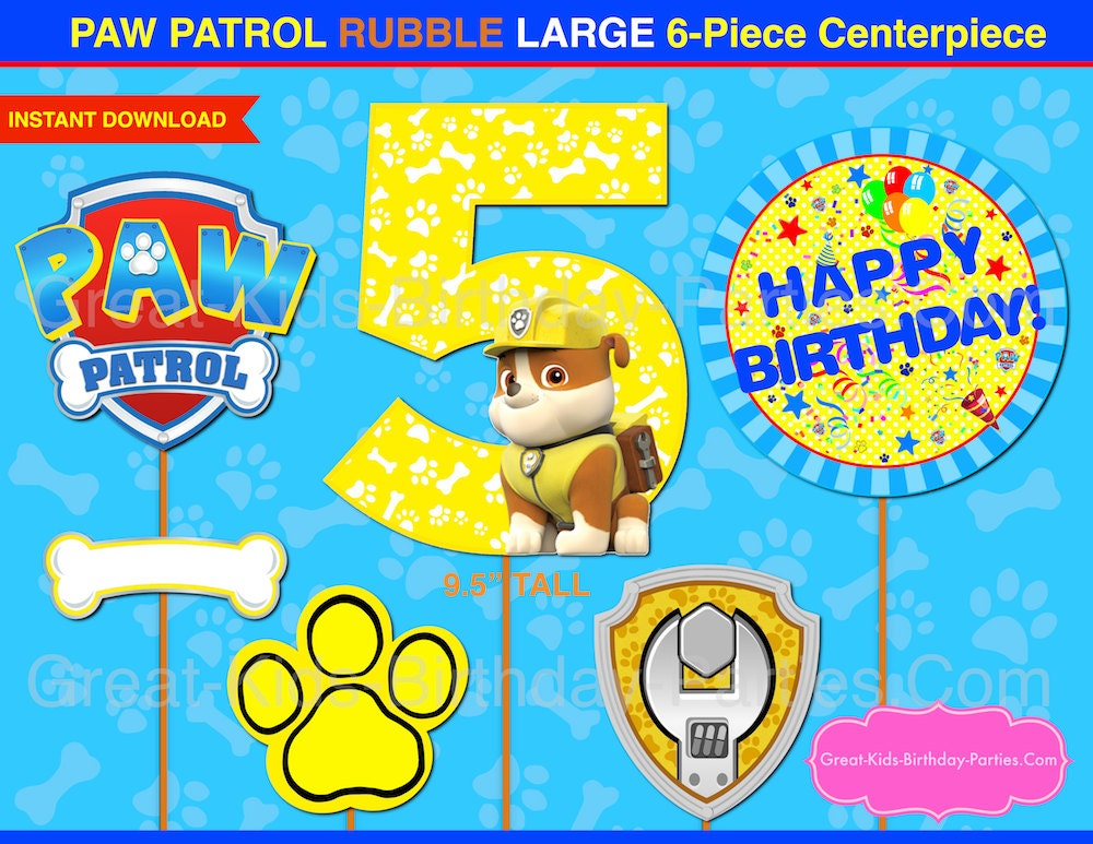 Paw patrol centerpiece number 5 rubble paw patrol printable for Number 5 decorations