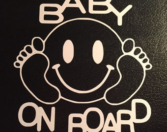 Happy Face Baby on Board Vinyl Decal Sticker