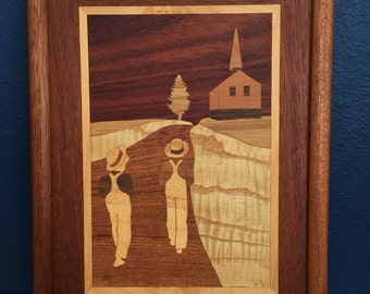 Vintage Marquetry Wood Inlay Art country road with Chapel scene