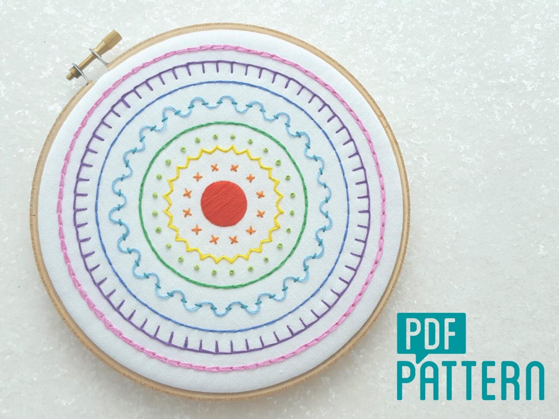 Rainbow sampler embroidery pattern hand