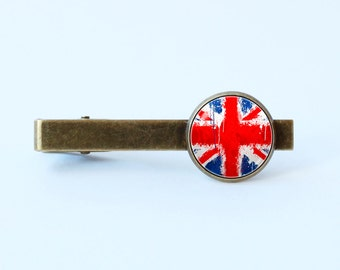 British flag tie clip Union Jack Gift for father United Kingdom Flag of UK tie clip Flag tie bar British jewelry British tie clip UK jewelry