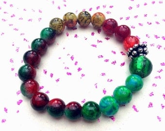 Red and green Glass beaded bracelet