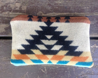 """Teal and Tan  Wool Clutch made with genuine Pendleton® fabric""""."""