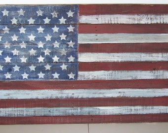 American Flag USA Large Wooden 4th of July holiday Vet .   Patriotic wood hand painted Christms gift antiqued. reclaimed pallet wood